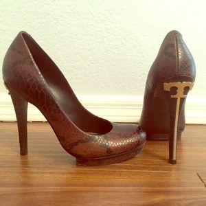 Tory Burch brown snake skin high heels
